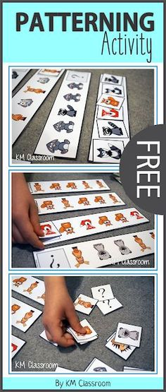 Simple ideas for teaching patterns and a freebie. Numeracy Activities, Animal Activities, Kindergarten Activities, Teaching Patterns, Math Patterns, Preschool Lessons, Preschool Classroom, Classroom Freebies, Classroom Ideas