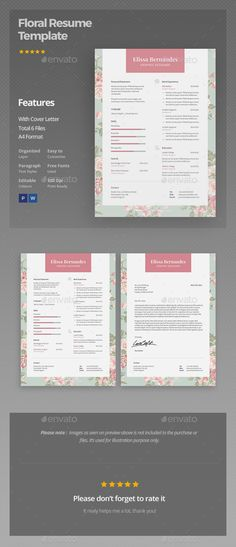 Floral Resume TemplateBusiness Card By Iloladesign On