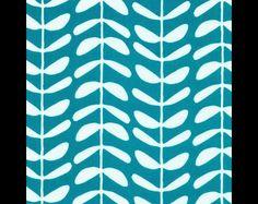 Designerstoffe USA - Cloud 9 Bio BW Canvas 'Yoyogi Park' vines petrol - ein Designerstück von toddlin-town-fabrics bei DaWanda