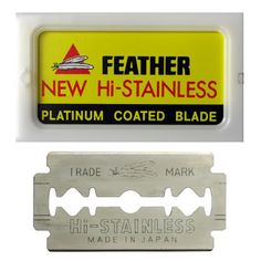 feather blades. double edged razor blades made in japan. samurai sharpness
