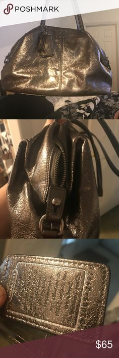 Metallic bronze coach satchel Medium sized coach satchel. Good condition. Slight makeup marks on inside. No tears or rips or signs of wear on the outside Coach Bags Satchels
