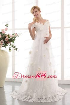 Modest A-line Off The Shoulder Court Train Tulle Appliques and Hand Made  Flowers Maternity · Lace Wedding Dresses ... c3fab5cfc102