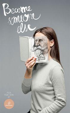 本の表紙と人間の顔がぴったりとマッチ「Become Someone Else」