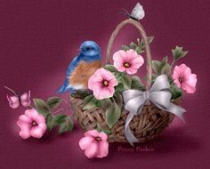 To you all ,wish you a beautiful Sunday, God bless you☆♡☆. Decoupage, Illustrations, Illustration Art, Penny Parker, Bird Pictures, Fruit Art, Morning Greeting, Flower Basket, Vintage Flowers