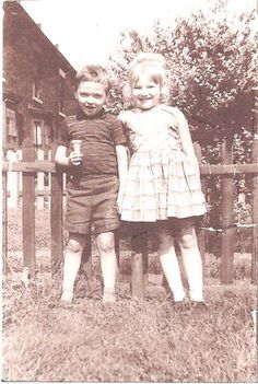 Morrissey aged 5, and his sister Jacqueline aged 6, at Albert Square in Old Trafford, Manchester, 1965 ― via True To You.