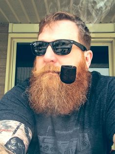 smoke-and-iron red beard bearded beards man men ginger puffy fluffy mustache pipe smoking smoke tattoo tattoos tattooed