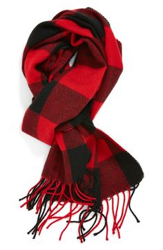 Soft, warm and stylish red checkered scarf.