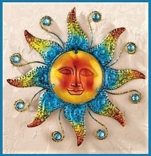 Indoor Outdoor Metal Metallic Sun Face Wall Art Home Decor | sun ...
