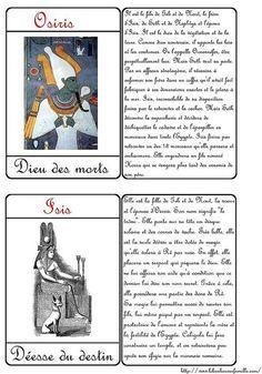 Cartes dieux égyptiens Osiris Iris