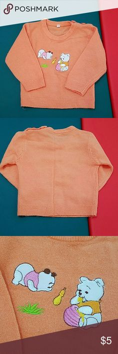 Orange sweater Cute stitch bears design. For boy or girl.  3-6 months Shirts & Tops Sweaters
