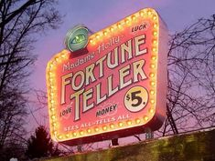 fortune teller pink purple sunset lights neon vintage madame
