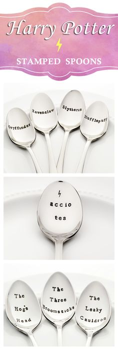 Harry Potter Stamped Spoons | A unique way to show your ϟ Harry Potter ϟ pride! Stir a little magic into your coffee or tea while relaxing with your favorite Harry Potter book ❤