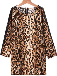 Leopard Long Sleeve Contrast Lace Loose Dress 19.67