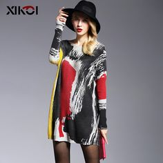 2017 Long Sweater Women Jumper Spring Oversized Pullover Casual Batwing Sleeve Print Fashion Woman Sweaters Clothes Pullovers