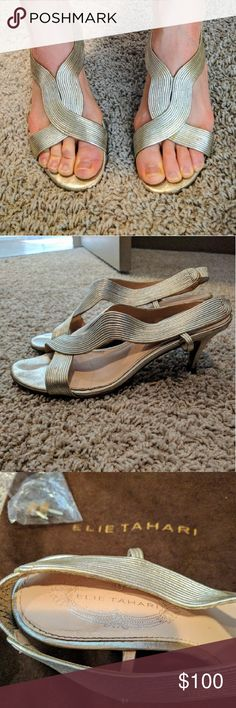 "Elie Tahari Heels * Silver * Heel height: 2.5"" * Great condition * Cleopatra Heels * Includes Elie Tahari carrying bag and two replacement heels * Light damage on the heel Elie Tahari Shoes Heels"