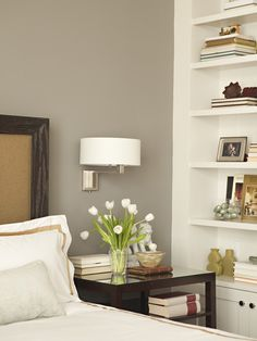 Warm gray walls paint color, chocolate wood ... for the living room, possibly the two front rooms as well (though they might need a lighter shade of that color)