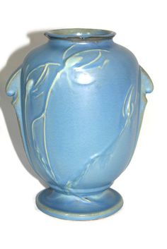 Roseville Pottery Roseville Teasel Vase 884-8 Blue by CocoRaes