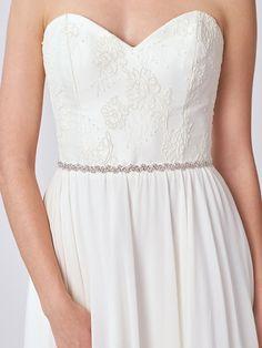 Thin Crystal Bridal Belt | Silver Rhinestone Bridal Sash | Silver Skinny Wedding Sash Belt [Danaë Belt]