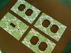 Green and White Damask Single Light Switch by COUTURELIGHTPLATES, $13.00