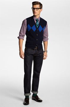 Brooks Brothers Cardigan Vest, Zachary Prell Sport Shirt & J Brand Jeans | Nordstrom    I would change some of the color configurations though.