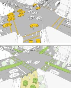 Complete street redesigned with medians, pedestrian islands and plaza via NYC's Dept of Transportation. Click image for link to full guide and visit the slowottawa.ca boards >> https://www.pinterest.com/slowottawa/