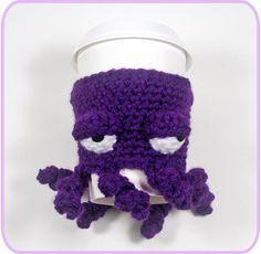 Grumpy Octopus Coffee Cup Cozy By Twinkle Chan - Free Crochet Pattern - (blog.twinklechan)