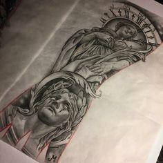 Chest Piece Tattoos, Best Sleeve Tattoos, Angel Tattoo Designs, Tattoo Sleeve Designs, Chicano Tattoos, Body Art Tattoos, Tattos, Tattoo Design Drawings, Tattoo Sketches