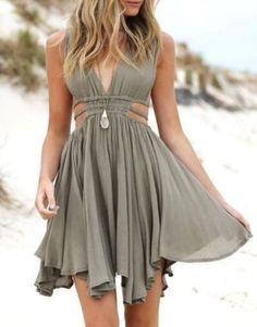 dress green cut-out olive green sunmer dress