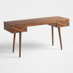 Wood and Metal Inlay Dustin Desk | World Market