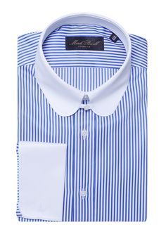 Round Tab Collar Shirt Checked Blue White Mark Powell