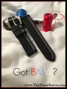 Check out our new BMW M3 stitch pattern. It's identical to the interior stitching of the M3 models! #BMW, #TheStrapSmith, #Customwatchstraps See all of our custom straps at: www.TheStrapSmith.com
