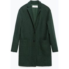 Zara Wool Coat ($129) ❤ liked on Polyvore featuring outerwear, coats, bottle green, wool coat, zara coat and woolen coat