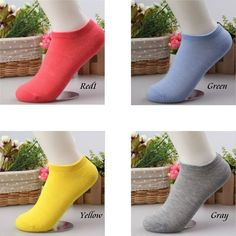 4 Pairs/Pack Solid Ankle Socks For Women Rainbow Series Color Summer Invisible Ladies Socks Free Shipping