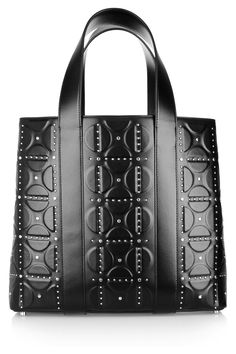 alaia embossed leather tote (via net-a-porter) Alexander Mcqueen Boots, Designer Totes, Black Tote, Large Bags, My Bags, Evening Bags, Mini Bag, Clutch Bag, Feminine Fashion