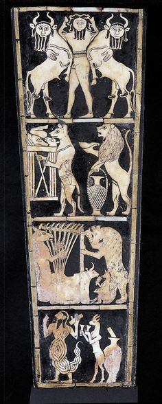 rosejonathanselavy: soundbox of bull-headed lyre from a royal grave of Ur, circa 2600 BC. (Much later, 2000 - 1900 BCE) Ancient Aliens, Ancient Egypt, Ancient History, Art History, Ancient Mesopotamia, Ancient Civilizations, Potnia Theron, Epic Of Gilgamesh, Egypt