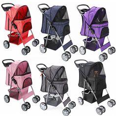 OxGord Pet Stroller Cat Dog 4 Wheel Easy Walk Stroll Travel Folding Carrier   #Oxgord