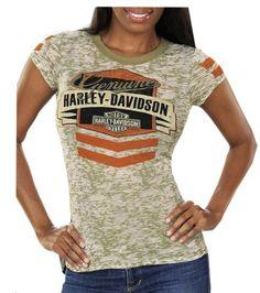 Harley-Davidson Womens Salute Stripe Burnout Green Short Sleeve (Medium)  http://bikeraa.com/harley-davidson-womens-salute-stripe-burnout-green-short-sleeve-medium/