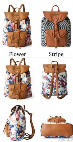 Fresh Retro Floral Flower Zebra stripes Drawstring Hasp Travel Bag Satchel Backpack for big sale! #travel #hasp #striped #zebra #fresh #flower #folk #bag