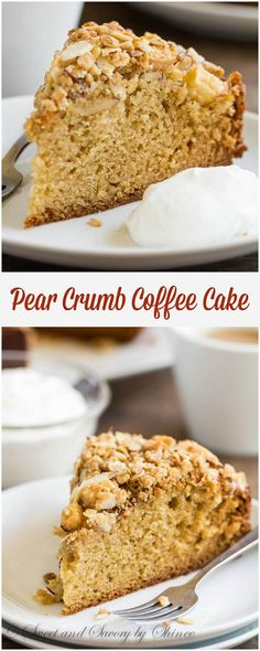 Tall and tender, this spiced pear coffee cake topped with nutty, crunchy crumb topping is a delicious start to fall baking!