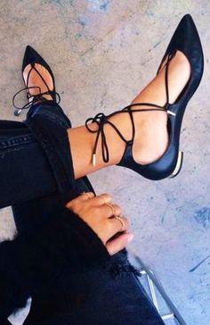 Black flats | laces | gold details