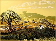 """Winter Fields with Sheep"" Linocut by Rob Barnes. http://www.robbarnesart.co.uk/ Tags: Linocut, Cut, Print, Linoleum, Lino, Carving, Block, Woodcut, Helen Elstone, Landscape, Animals, Sheep, Trees, Sky"