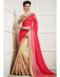 Amazing Beige and Red #Saree