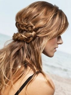 half updo with top hairs french braided to head then zigzagged into a normal braid
