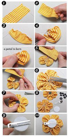 DIY Tutorial: Hair Accessories / DIY Ribbon Flower Hair Clips - BeadCord