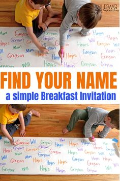 Find Your Name; A Simple Breakfast Invitation