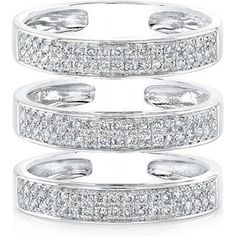Anne Sisteron 14kt White Gold Diamond Large Triple Bar Ring as seen on Carrie Underwood