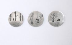 Winter Brooches by Jane Dodd Spoon Jewelry, Enamel Jewelry, Copper Jewelry, Jewelry Crafts, Jewelry Art, Jewelry Design, 3d Laser, Precious Metal Clay, Contemporary Jewellery
