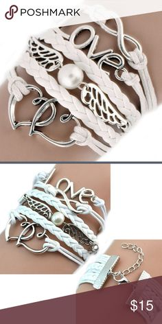 NEW BRACELET Fashion Womens Leather Multilayer Cute Infinity Love Heart Wings Charms Bracelet Accessories