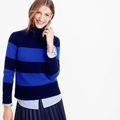 Cobalt and navy stripes and pleats for fall and winter @ JCrew