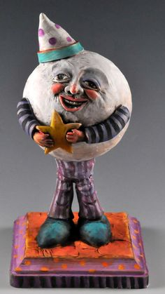 Man in the Moon Paper Clay Sculpture Paper Clay Art, Paper Mache Clay, Paper Mache Projects, Clay Projects, Clay Dolls, Art Dolls, Funky Art, Paperclay, Sculpture Clay